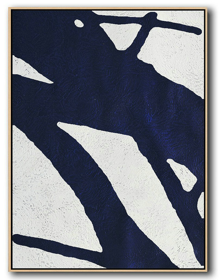 "Extra Large 72"" Acrylic Painting,Buy Hand Painted Navy Blue Abstract Painting Online,Large Living Room Decor #P2S5"