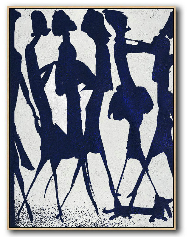 Large Modern Abstract Painting,Buy Hand Painted Navy Blue Abstract Painting Online,Canvas Wall Art Home Decor #O5J9