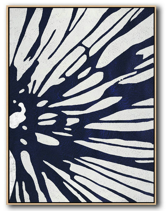 Hand Painted Aclylic Painting On Canvas,Buy Hand Painted Navy Blue Abstract Painting Online,Original Abstract Painting Canvas Art #T3C8