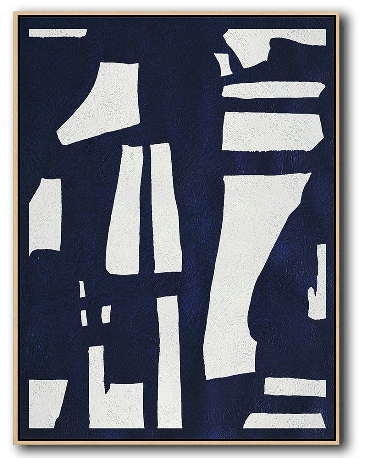 Handmade Painting Large Abstract Art,Buy Hand Painted Navy Blue Abstract Painting Online,Large Contemporary Art Canvas Painting #H7Q3