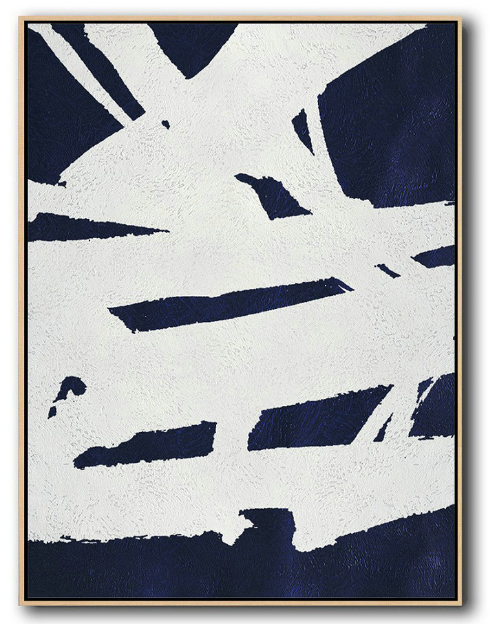 Large Modern Abstract Painting,Buy Hand Painted Navy Blue Abstract Painting Online,Original Art Acrylic Painting #F8T5