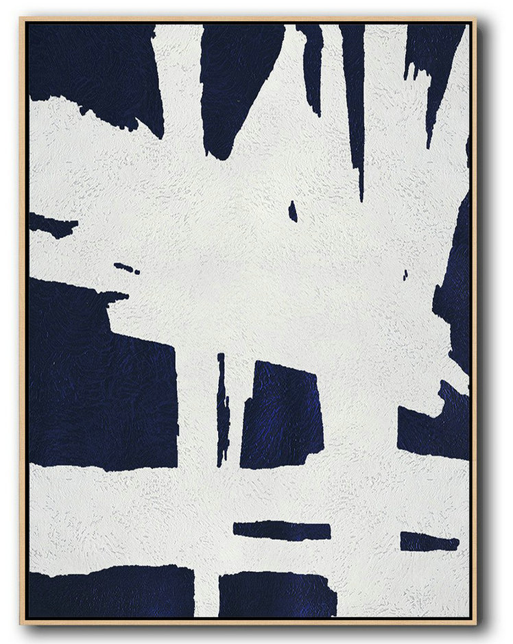Handmade Painting Large Abstract Art,Buy Hand Painted Navy Blue Abstract Painting Online,Big Art Canvas #W7C3
