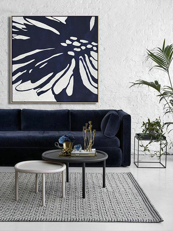 Large Paintings For Living Room,Hand Painted Navy Minimalist Painting On Canvas,Modern Paintings On Canvas #P9A4