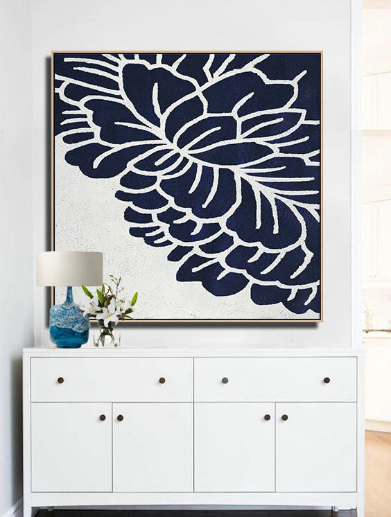 Extra Large Paintings,Hand Painted Navy Minimalist Painting On Canvas,Extra Large Artwork #O1D8