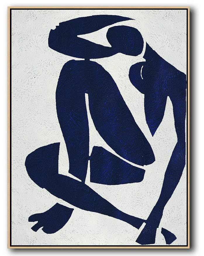 Original Extra Large Wall Art,Buy Hand Painted Navy Blue Abstract Painting Nude Art Online,Abstract Paintings On Sale #M6F0