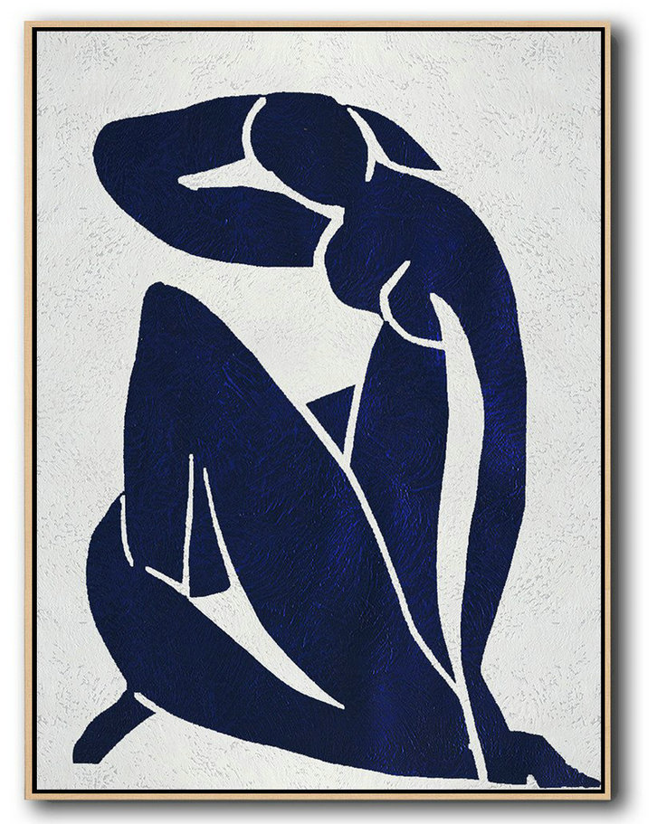 Handmade Large Contemporary Art,Buy Hand Painted Navy Blue Abstract Painting Nude Art Online,Original Abstract Oil Paintings #E2T1