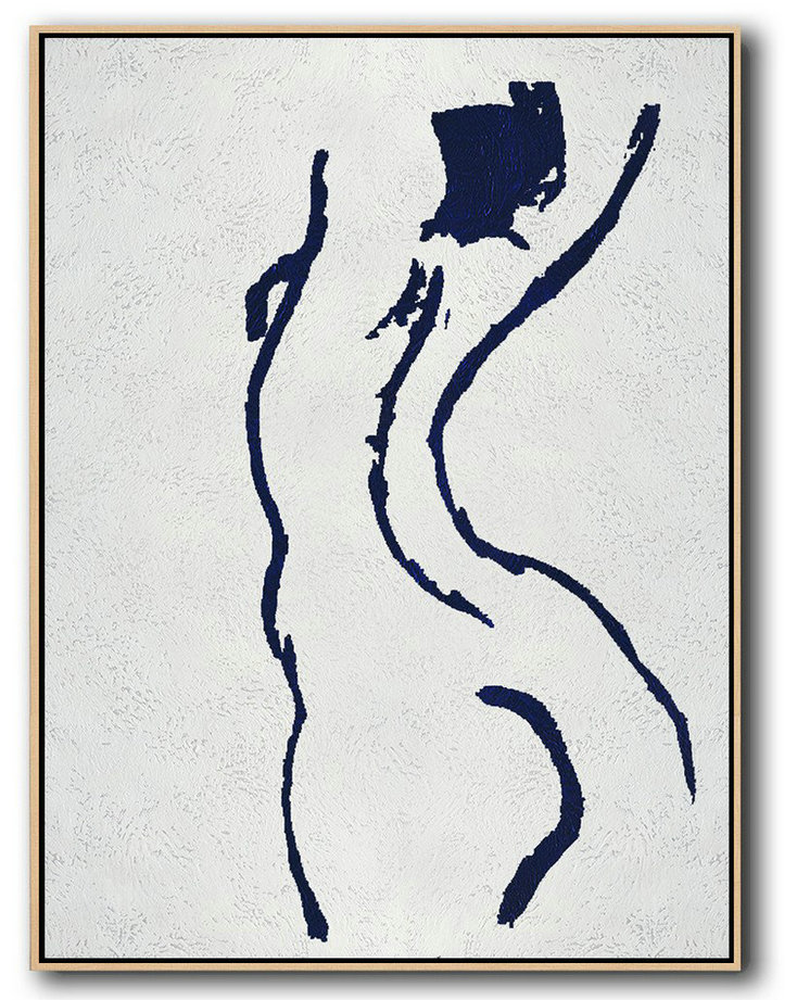 Abstract Painting Extra Large Canvas Art,Buy Hand Painted Navy Blue Abstract Painting Nude Art Online,Extra Large Wall Art #B6J9