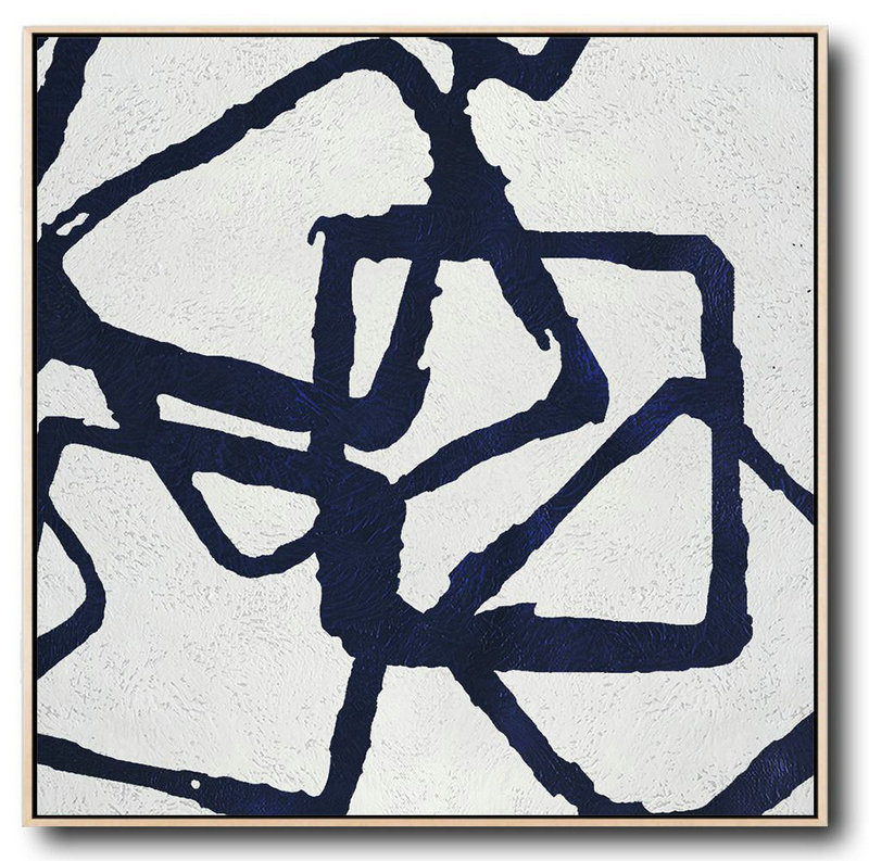 Large Abstract Art Handmade Oil Painting,Minimalist Navy Blue And White Painting,Acrylic Painting On Canvas #Z2T5