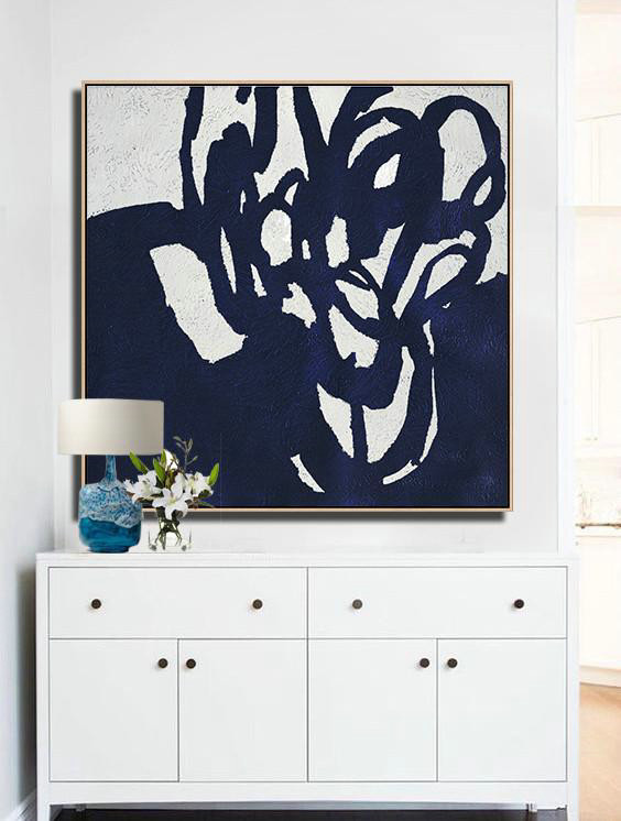 Big Art Canvas,Hand-Painted Oversized Minimalist Navy Blue And White Painting,Large Wall Canvas #R0K8