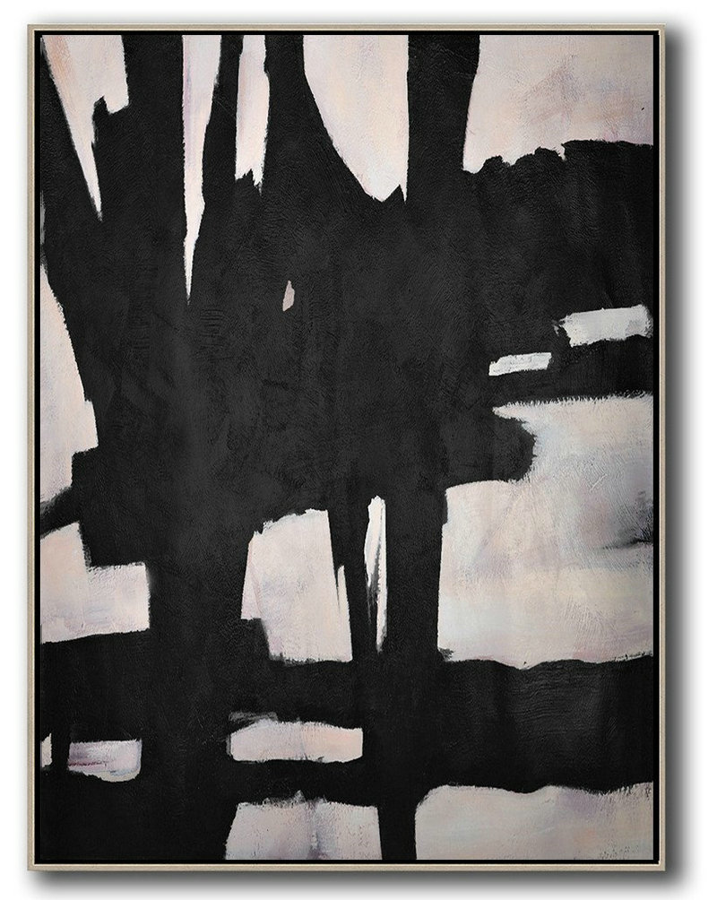 Extra Large Textured Painting On Canvas,Hand-Painted Black And White Minimal Painting On Canvas,Modern Art Oil Painting #H9X7