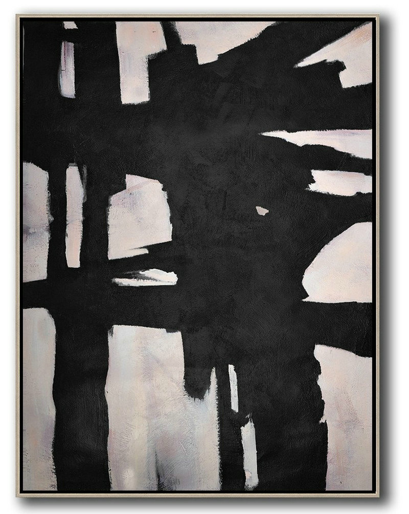 Hand Made Abstract Art,Hand-Painted Black And White Minimal Painting On Canvas,Original Modern Art,Large Wall Art Handmade #Z6N2