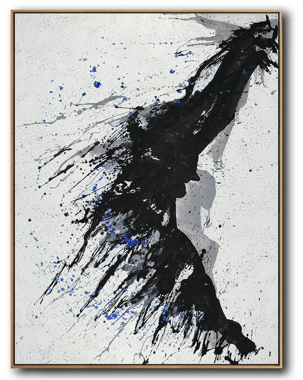Large Modern Abstract Painting,Hand-Painted Black And White Minimal Painting On Canvas,Extra Large Wall Art #F1V6