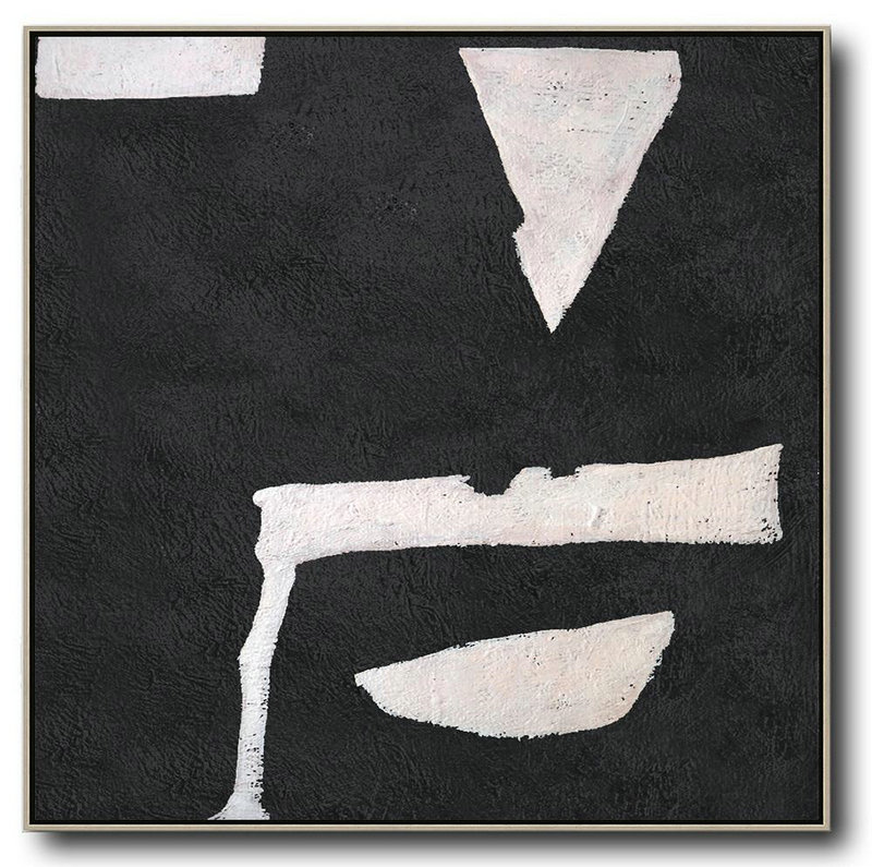 Handmade Large Painting,Hand-Painted Oversized Minimal Black And White Painting,Extra Large Paintings #F3Q3