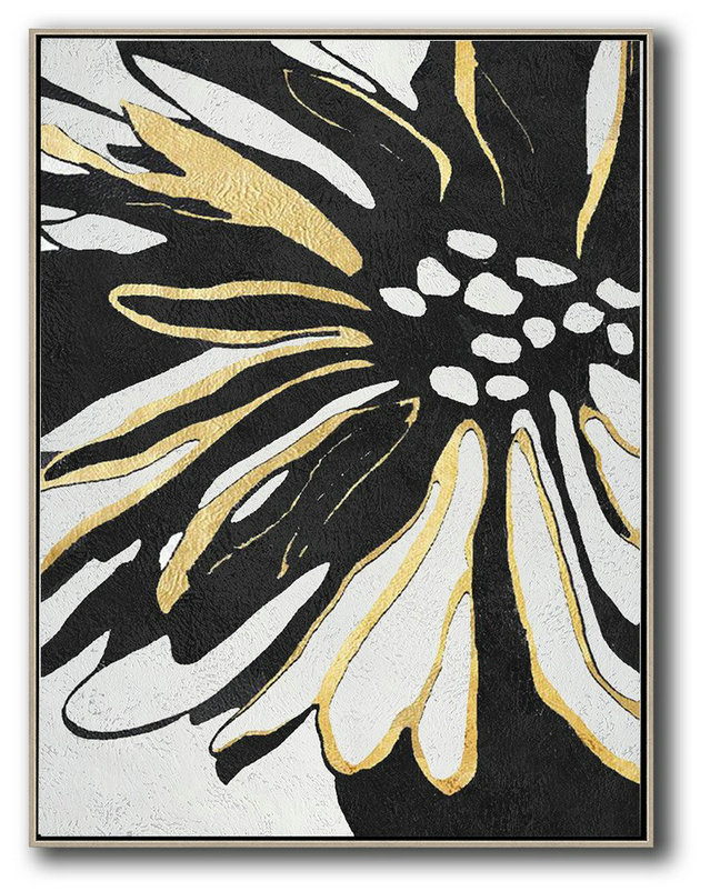 Original Extra Large Wall Art,Hand-Painted Black And White Minimal Painting On Canvas,Hand-Painted Canvas Art #W6J0