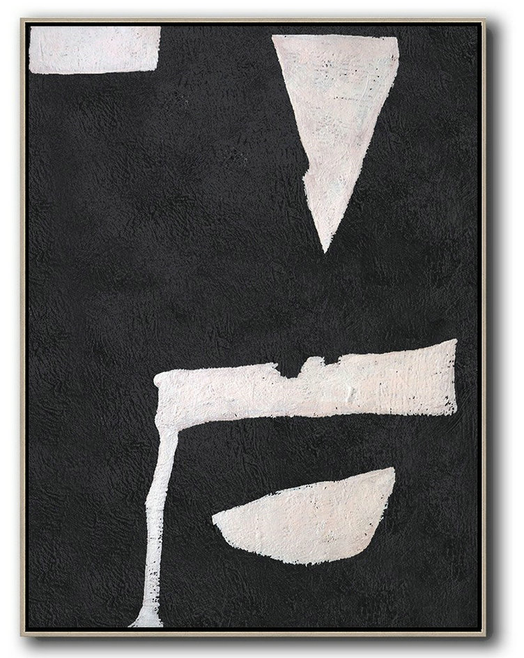 Large Abstract Art Handmade Oil Painting,Hand-Painted Black And White Minimal Painting On Canvas,Modern Painting Abstract #I6B7
