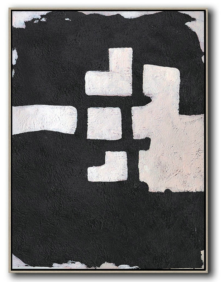 Original Extra Large Wall Art,Hand-Painted Black And White Minimal Painting On Canvas,Acrylic On Canvas Abstract #U8P2