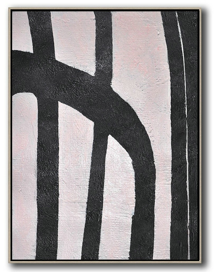 Handmade Large Contemporary Art,Hand-Painted Black And White Minimal Painting On Canvas,Hand Paint Large Clean Modern Art #O8B5