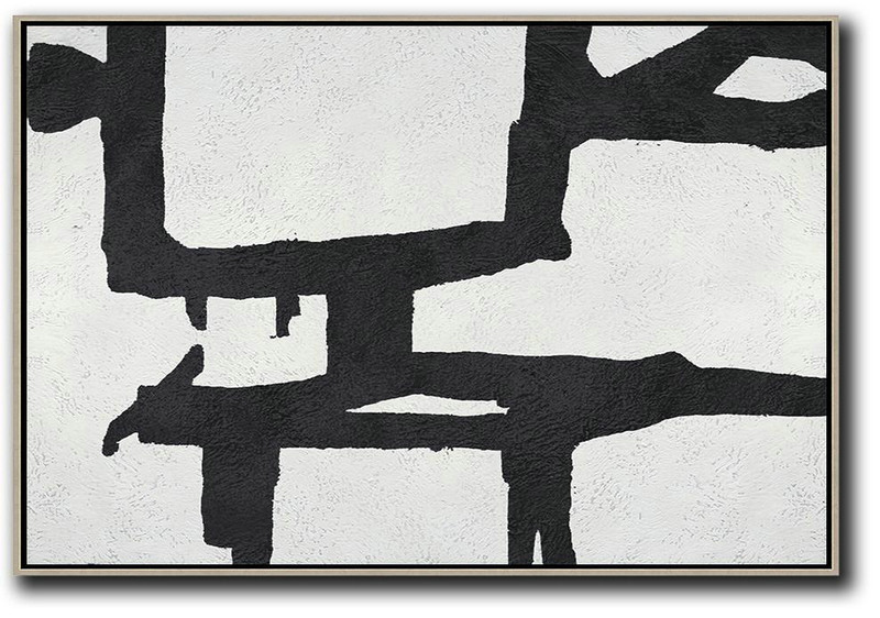 Living Room Wall Art,Oversized Horizontal Minimal Art On Canvas,Extra Large Artwork #E5P4