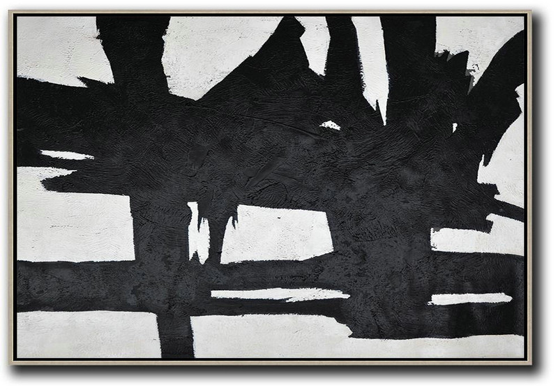 Contemporary Art Canvas Painting,Hand Painted Oversized Horizontal Minimal Art On Canvas, Black And White Minimalist Painting,Textured Painting Canvas Art #O4J6