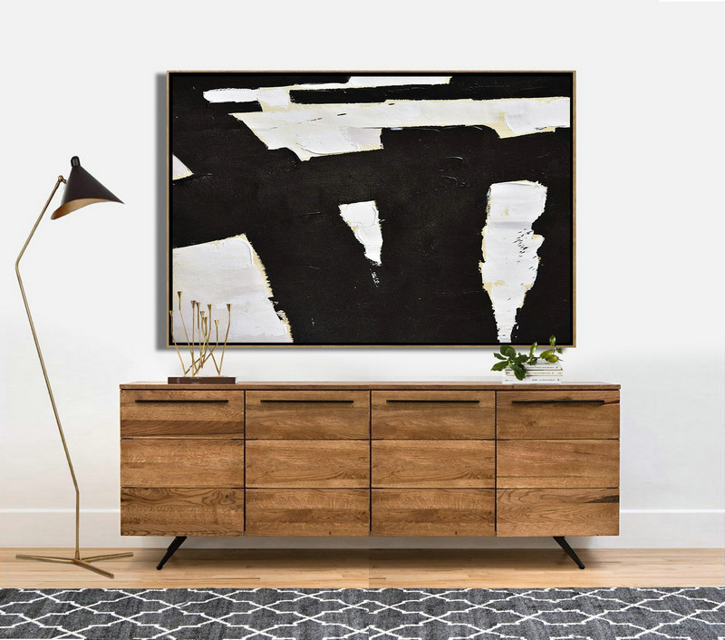 Abstract Art Decor Large Canvas Painting,Horizontal Palette Knife Minimal Canvas Art Painting Black White Beige,Acrylic Painting Canvas Art #Z7S9