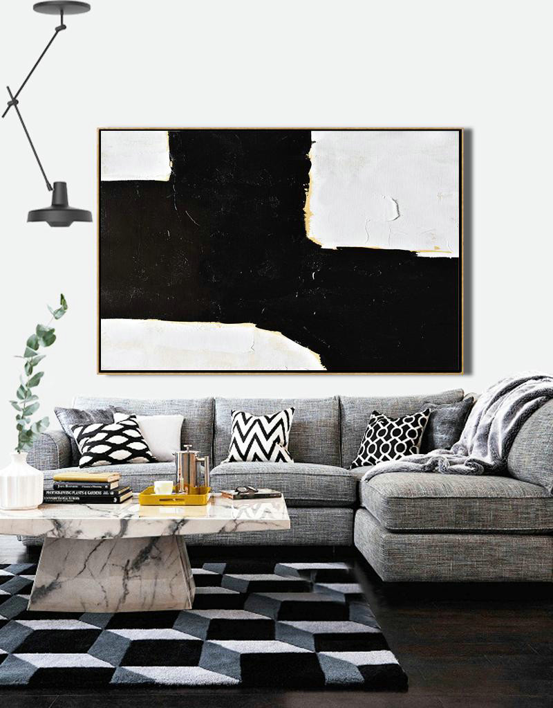 Huge Canvas Art On Canvas,Horizontal Palette Knife Minimal Canvas Art Painting Black White Beige,Large Canvas Art,Modern Art Abstract Painting #T4G1