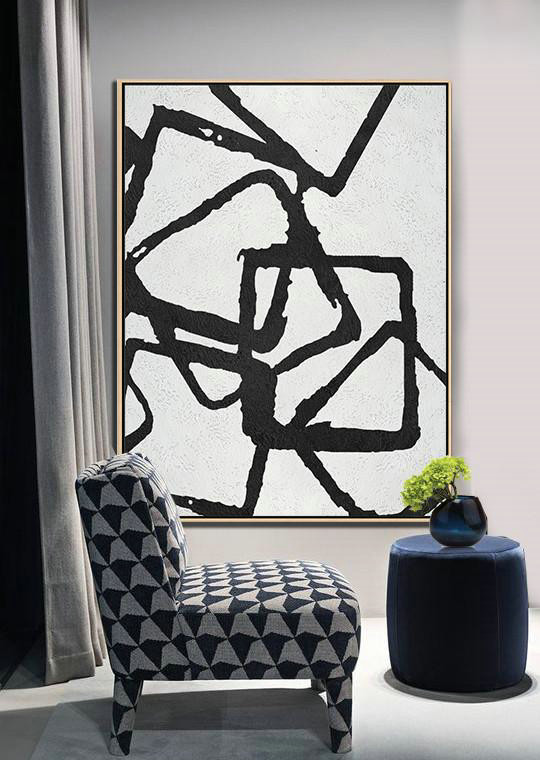 Abstract Oil Painting,Black And White Minimalist Painting On Canvas,Hand Painted Acrylic Painting #X1D0 - Click Image to Close