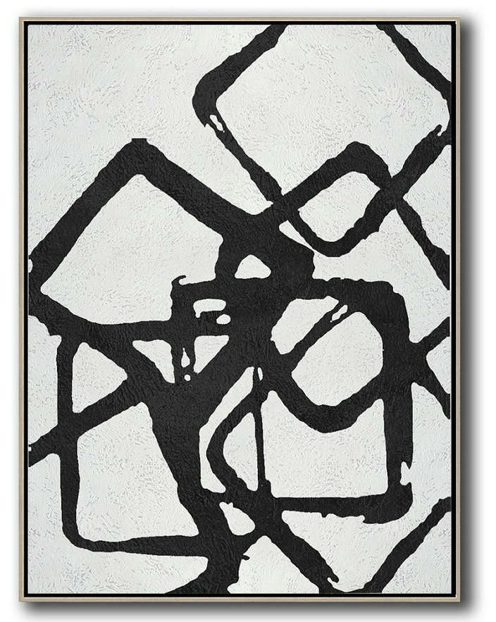 Art Work,Black And White Geometric Art Minimal Painting On Canvas,Hand Paint Large Art #X5D0