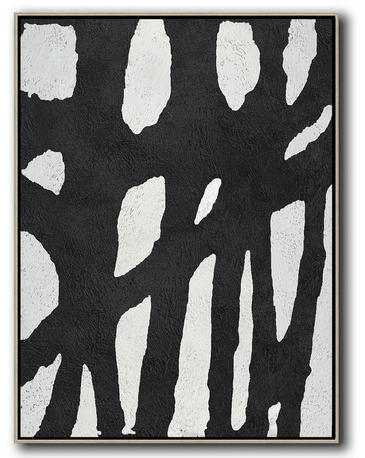 Acrylic Painting On Canvas,Black And White Minimalist Painting On Canvas,Oversized Canvas Art #Q2K3