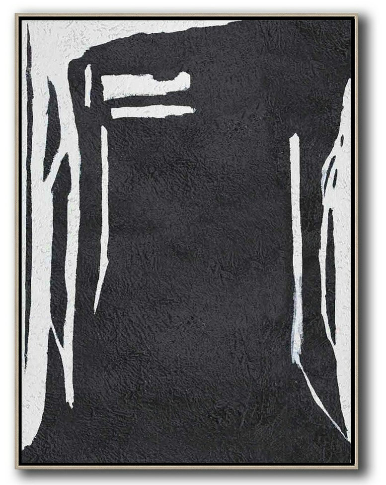 Canvas Paintings For Sale,Black And White Minimal Painting On Canvas,Modern Wall Art #S9M3