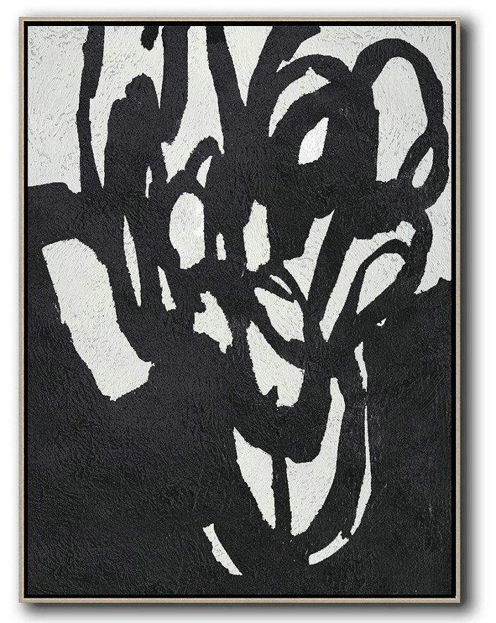 Contemporary Artwork,Black And White Minimalist Painting On Canvas,Custom Oil Painting #Z0B8