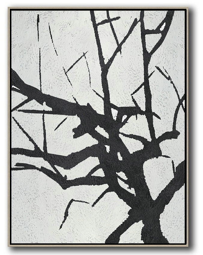 Acrylic Painting Wall Art,Black And White Minimalist Painting On Canvas,Hand Painted Aclylic Painting On Canvas #M1E9