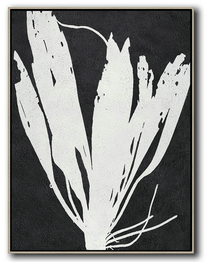 Contemporary Abstract Painting,Black And White Minimalist Painting On Canvas,Contemporary Canvas Paintings #P5V6