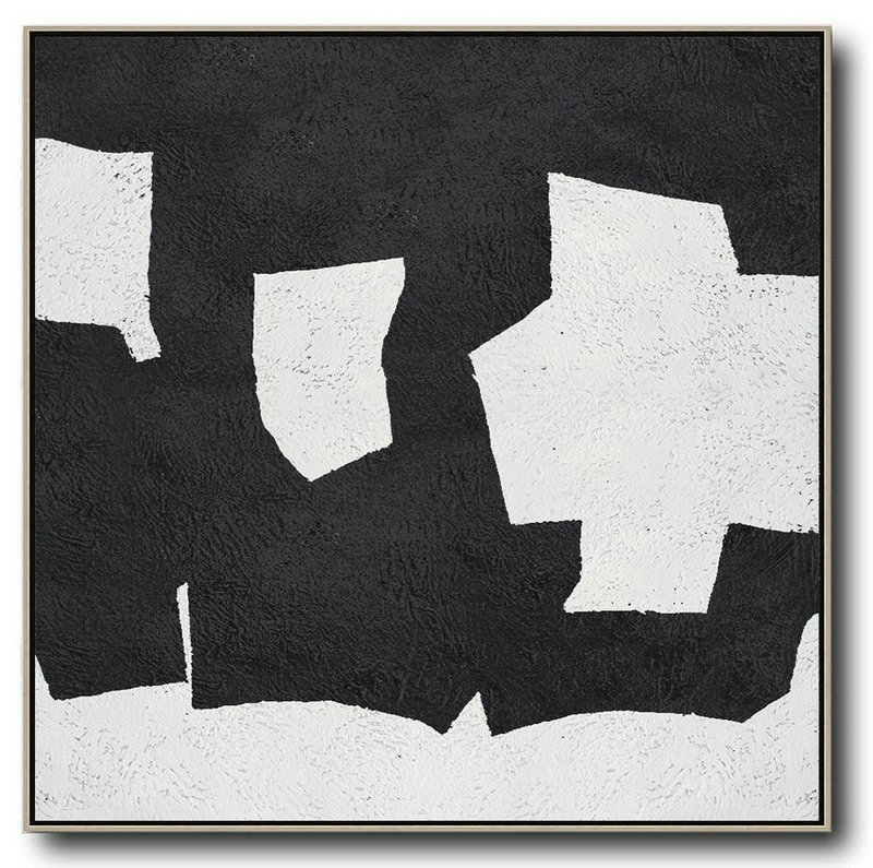 Oversized Canvas Art On Canvas,Oversized Minimal Black And White Painting,Large Wall Canvas #T1Z8