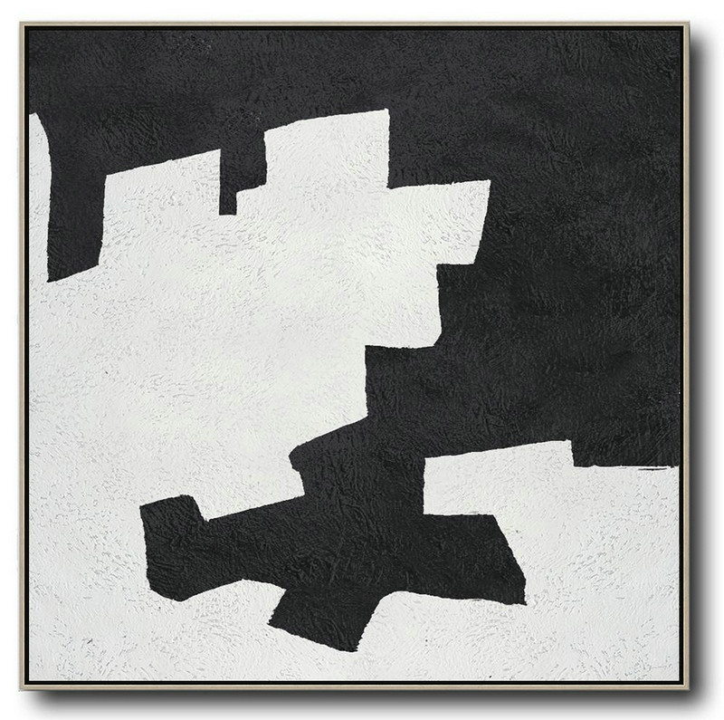 Large Abstract Painting,Oversized Minimal Black And White Painting,Huge Canvas Art On Canvas #R3K3