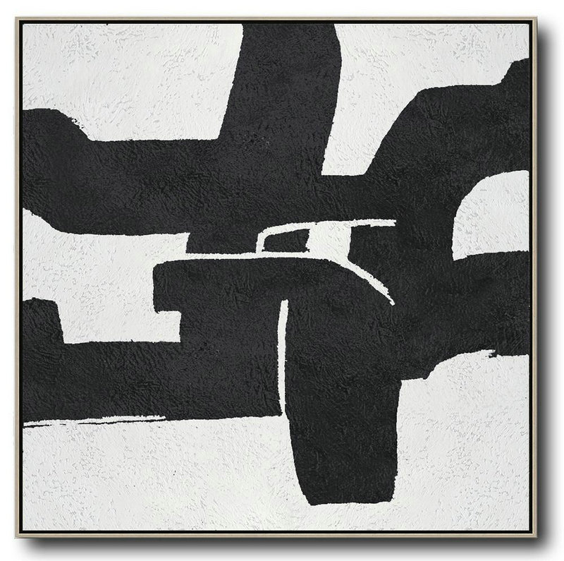 Large Modern Abstract Painting,Oversized Minimal Black And White Painting,Large Contemporary Painting #L8I2