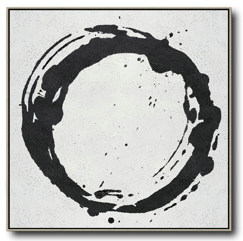 Handmade Large Painting,Oversized Minimal Black And White Painting,Large Abstract Wall Art #N3B4