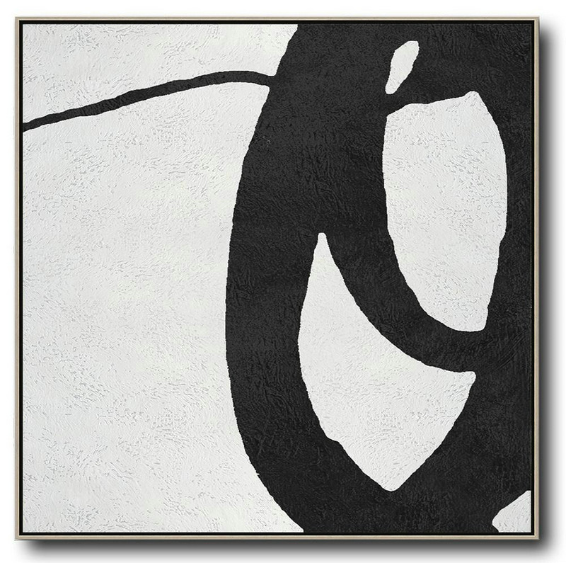 Extra Large Textured Painting On Canvas,Oversized Minimal Black And White Painting,Canvas Paintings For Sale #T5X3