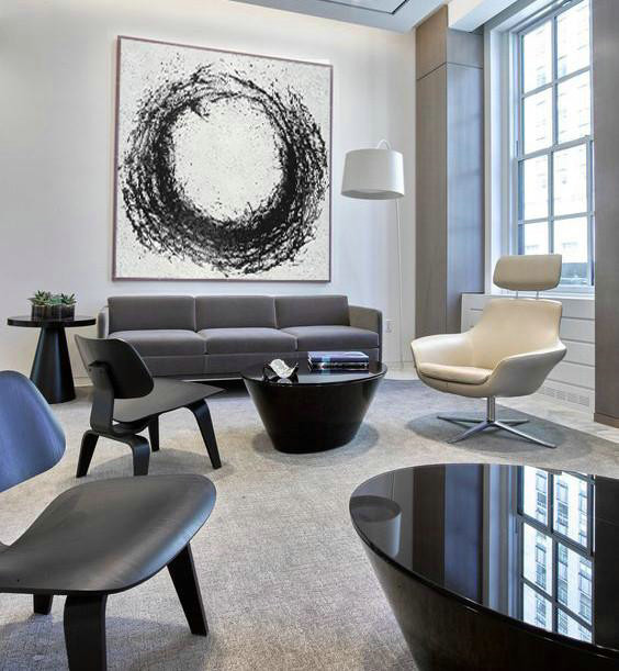 Large Abstract Painting,Oversized Minimal Black And White Painting,Wall Art Painting #B1J6