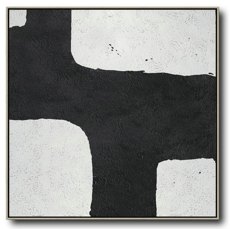 Extra Large Acrylic Painting On Canvas,Oversized Minimal Black And White Painting,Modern Paintings #T4H6