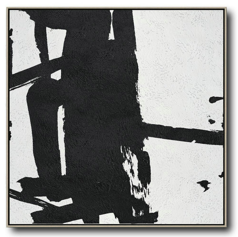 Abstract Painting Extra Large Canvas Art,Oversized Minimal Black And White Painting,Canvas Paintings For Sale #W6G8