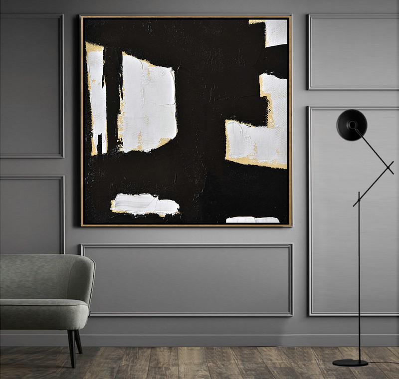 Large Abstract Art,Handmade Minimal Art Palette Knife Canvas Painting, Black White Beige,Huge Abstract Canvas Art #I7I7