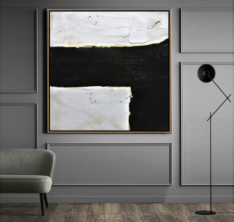 Abstract Painting Extra Large Canvas Art,Handmade Minimal Art Palette Knife Canvas Painting, Black White Beige,Large Wall Art Home Decor #J4J6
