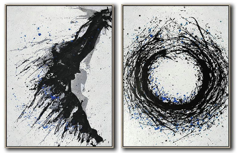 Handmade Painting Large Abstract Art,Set Of 2 Minimal Painting On Canvas,Large Paintings For Living Room #A2Z9