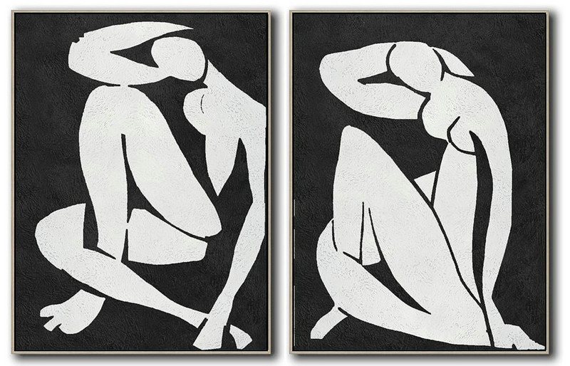 Handmade Large Contemporary Art,Set Of 2 Minimal Painting On Canvas,Lounge Room Decor #I3V6