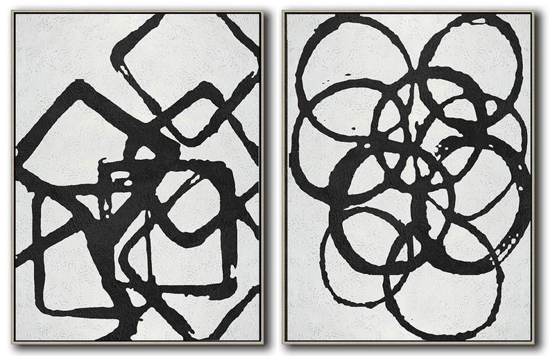 Abstract Painting Extra Large Canvas Art,Set Of 2 Minimal Painting On Canvas,Giant Wall Decor #N7I2