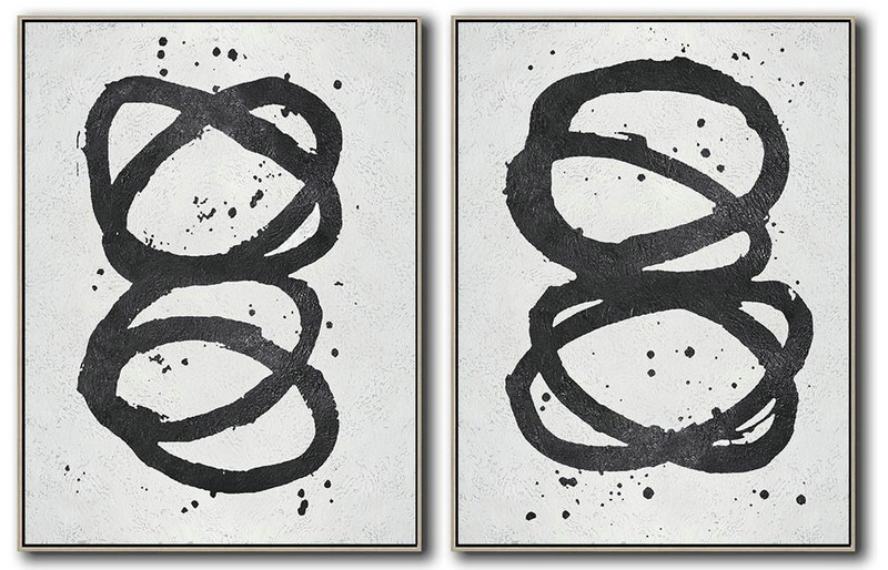 Large Contemporary Art Acrylic Painting,Set Of 2 Minimal Painting On Canvas,Modern Painting Abstract #O4S1