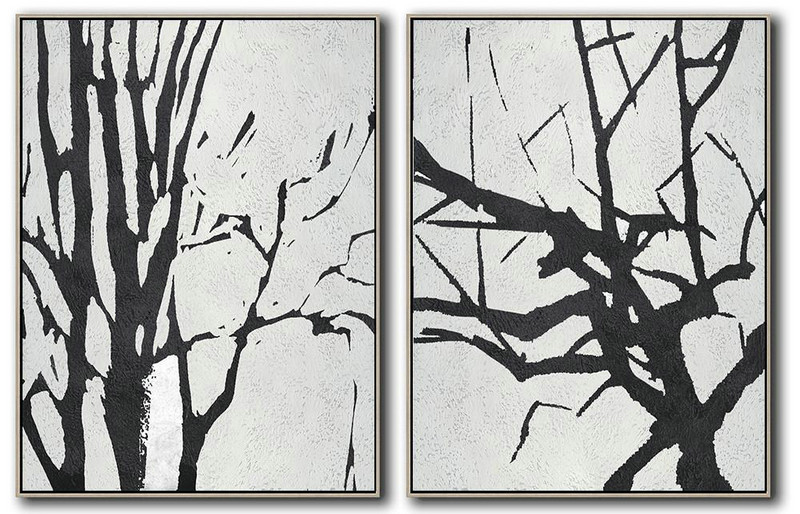 Hand Painted Extra Large Abstract Painting,Set Of 2 Minimal Painting On Canvas,Hand Painted Original Art #B9J0