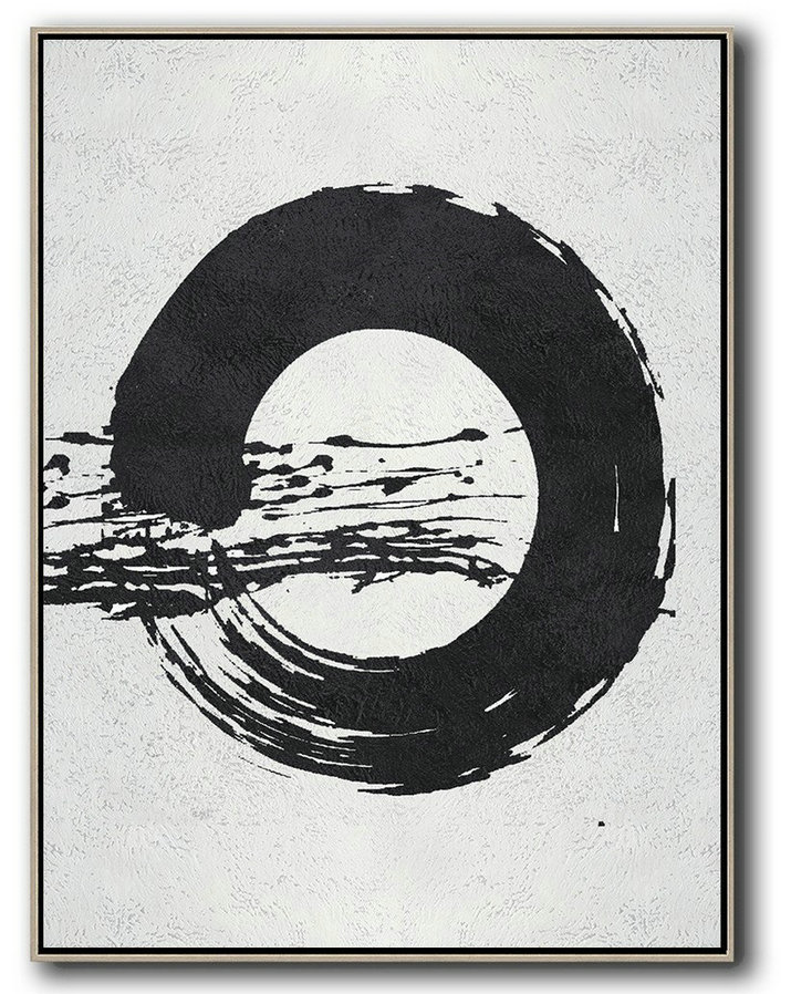 Large Abstract Painting Canvas Art,Black And White Minimal Painting On Canvas,Canvas Artwork For Living Room #D5V3