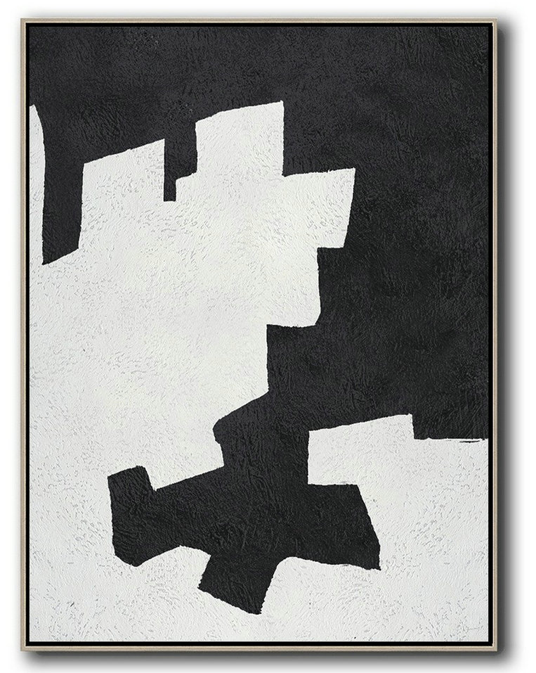 Hand Made Abstract Art,Black And White Minimal Painting On Canvas,Modern Living Room Decor #S4L0