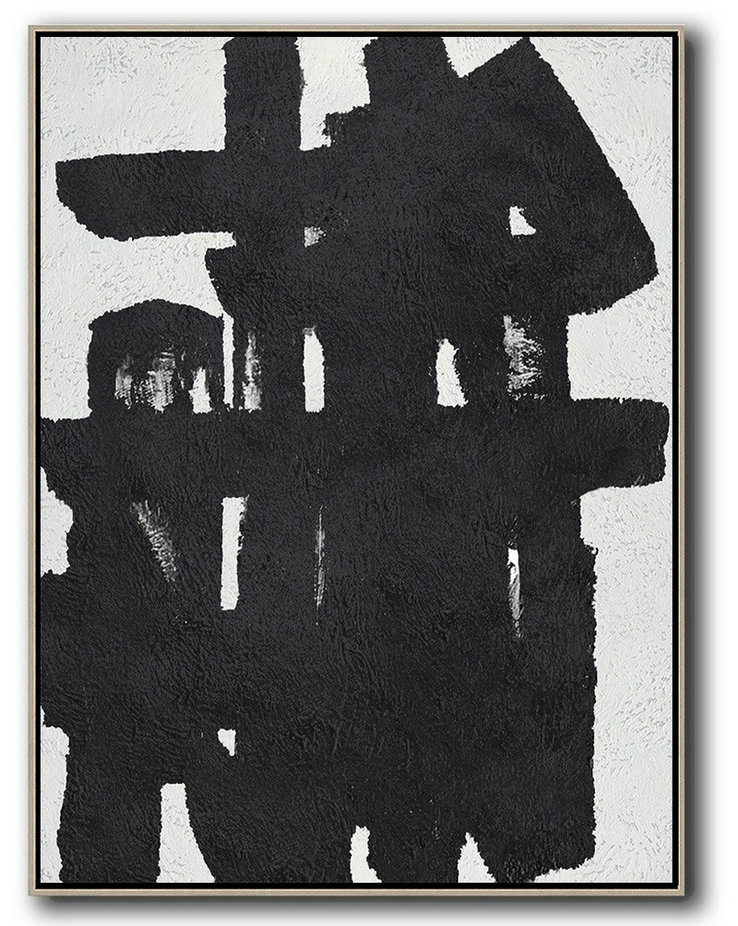 Extra Large Textured Painting On Canvas,Black And White Minimal Painting On Canvas,Lounge Wall Decor #Y8M9